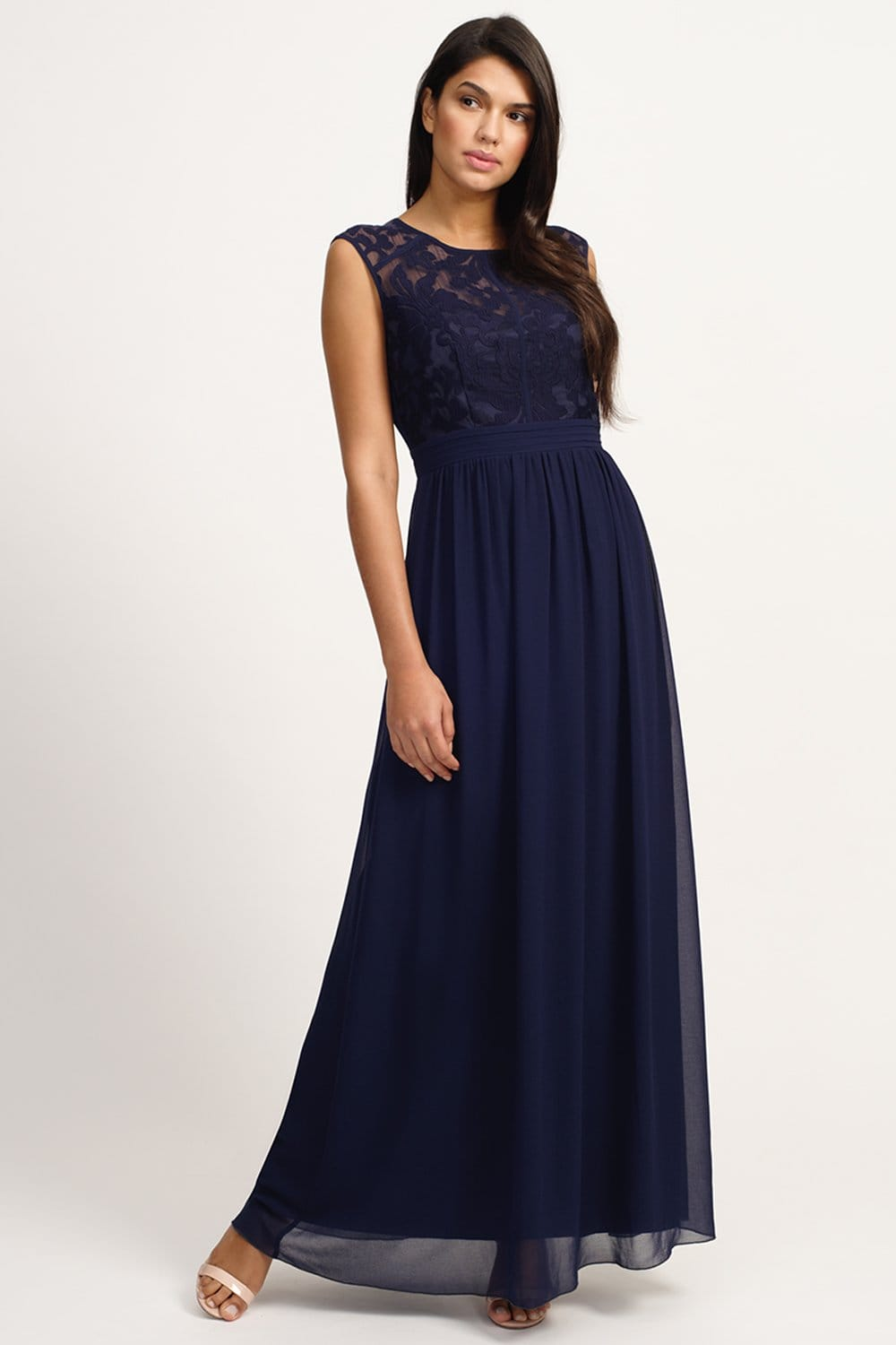 Little Mistress Navy Floral Flock Maxi Dress  Little Mistress from Little Mistress UK