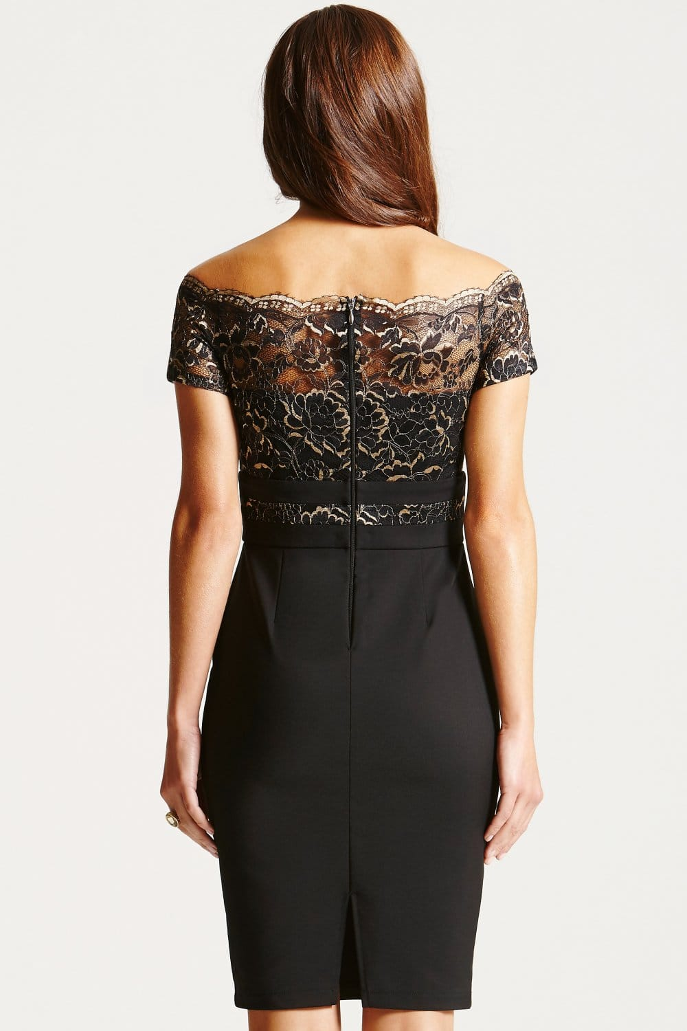 Black Metallic Lace Bardot Dress  from Little Mistress UK