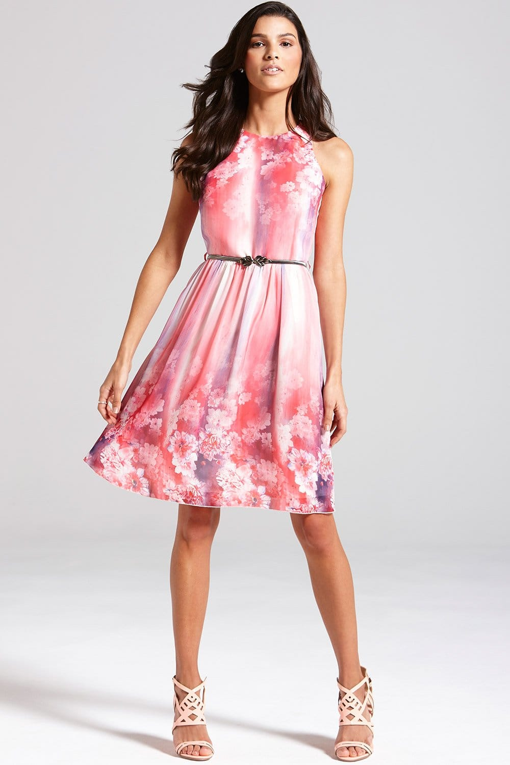 Pink Floral Fit and Flare Dress  from Little Mistress UK