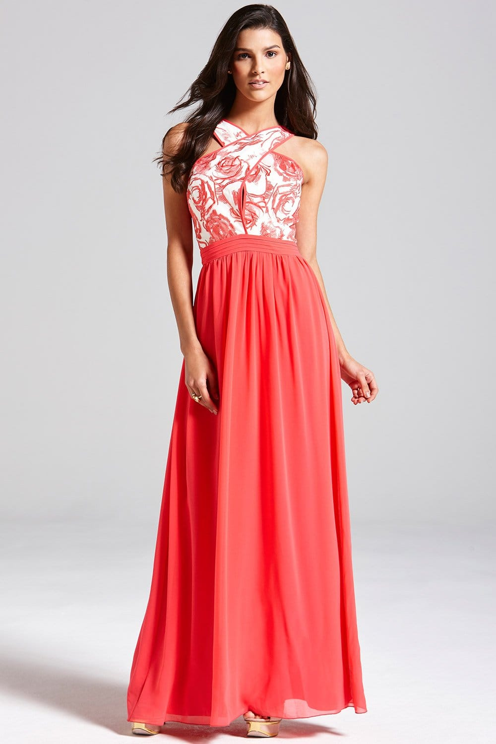Coral and Cream Floral Top Maxi Dress  from Little Mistress UK