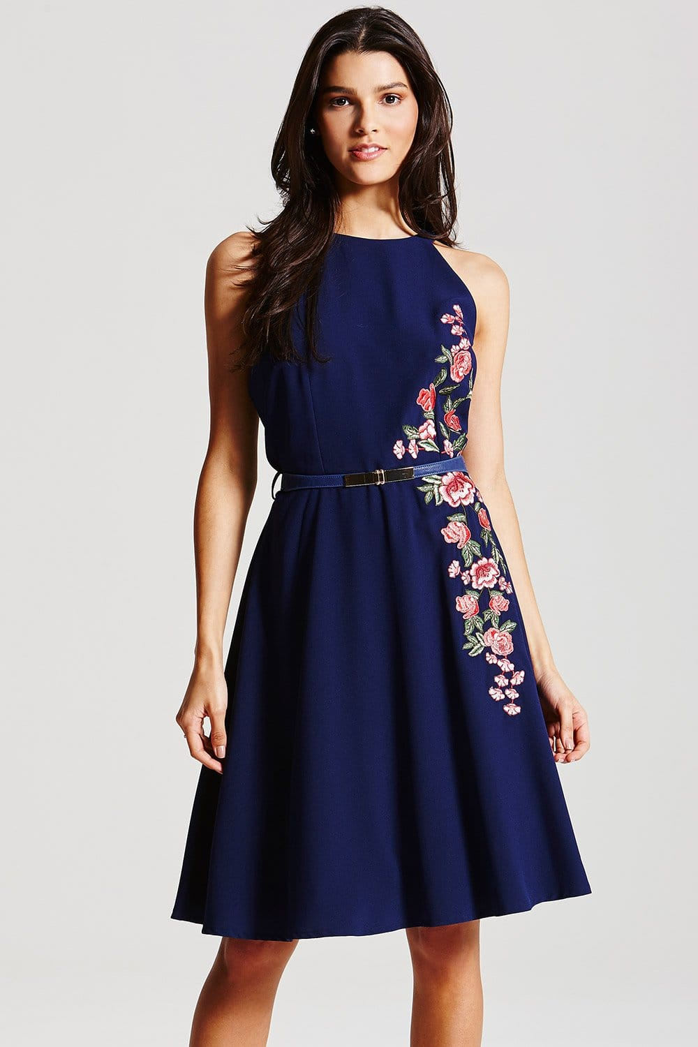 Navy Floral Embroidered Fit and Flare Dress  from Little Mistress UK