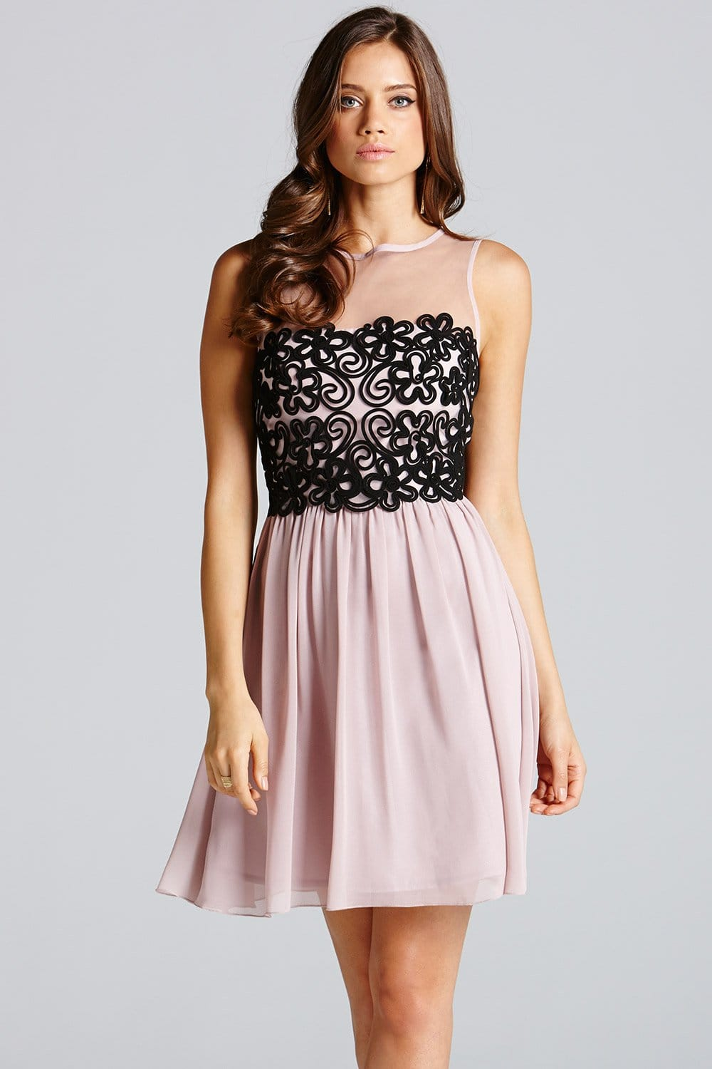 Little Mistress Black And Gold Floral Fit And Flare Dress