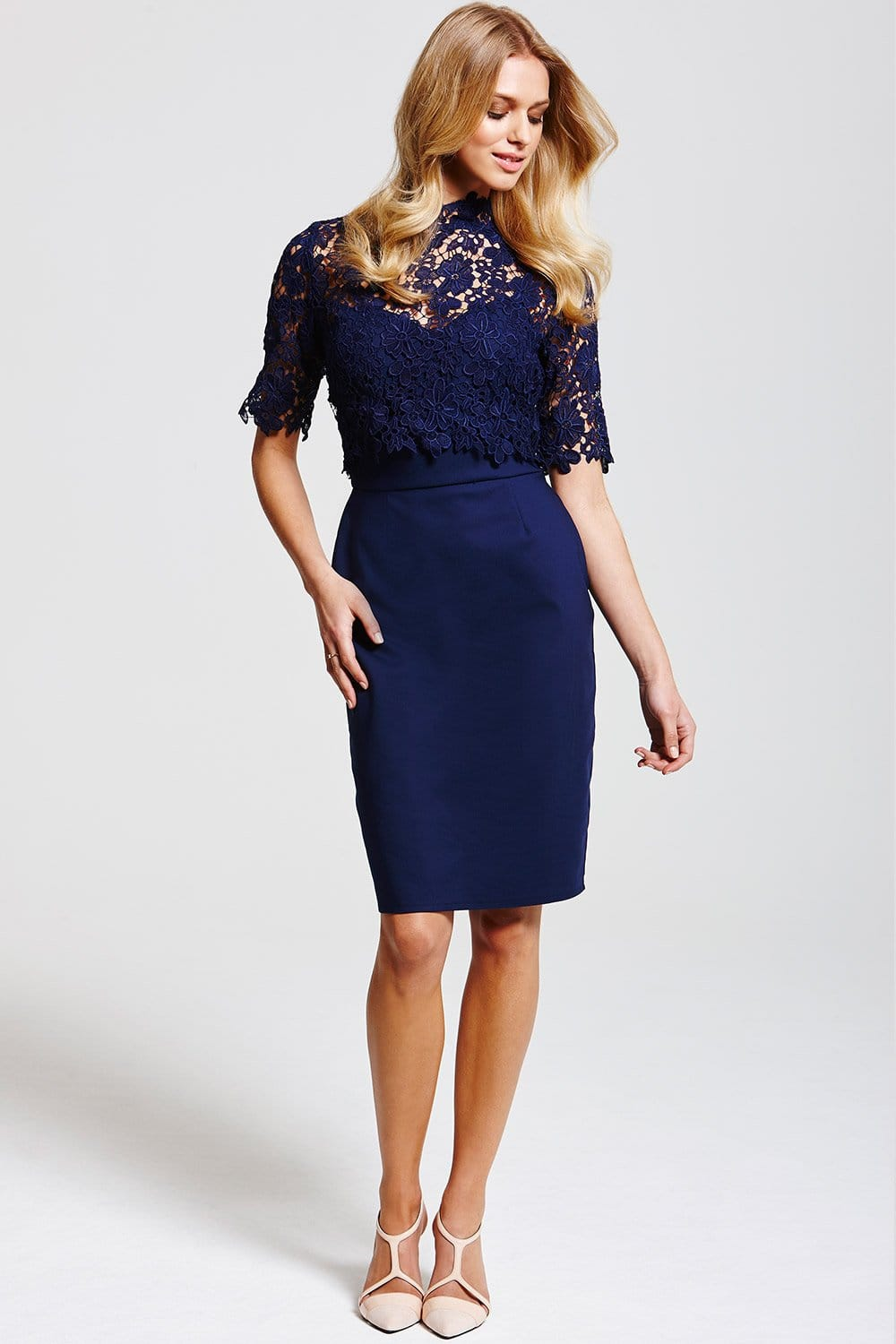 Paper Dolls Navy Floral Lace Overlay Dress  Paper Dolls from Little Mistress UK
