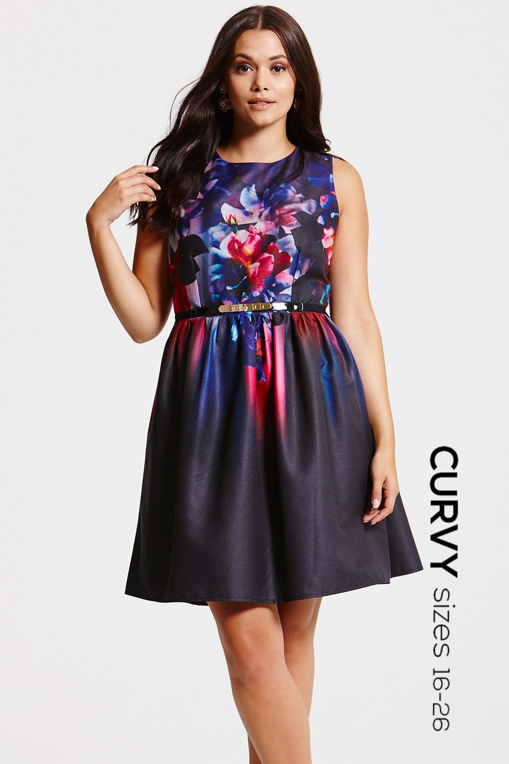 Floral Placement Print Fit and Flare Dress  from Little Mistress UK