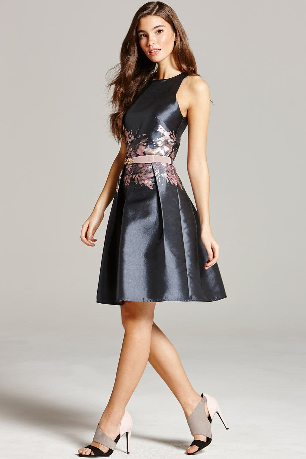 Grey Jacquard Print Fit and Flare Dress  from Little Mistress UK