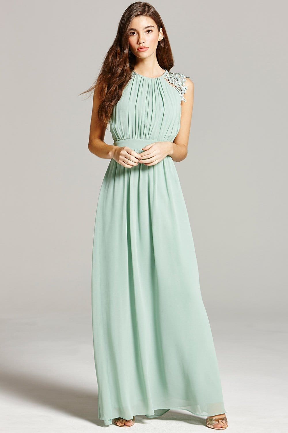 Sage Lace and Pleat Maxi Dress  from Little Mistress UK