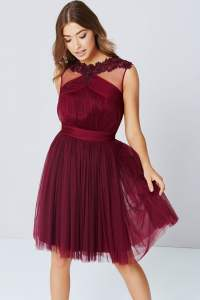 Maroon Lace And Mesh Prom Dress - from Little Mistress UK