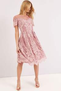 Dusty Pink Lace Dress - from Little Mistress UK