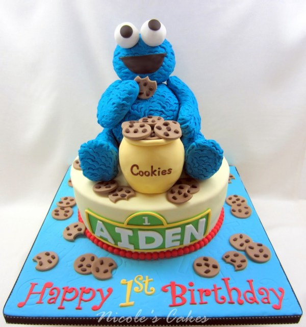 Cookie Monster 1st Birthday Cake