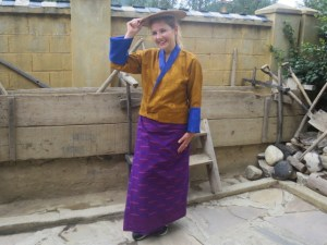 Dr. Martina tries out the Bhutanese attire