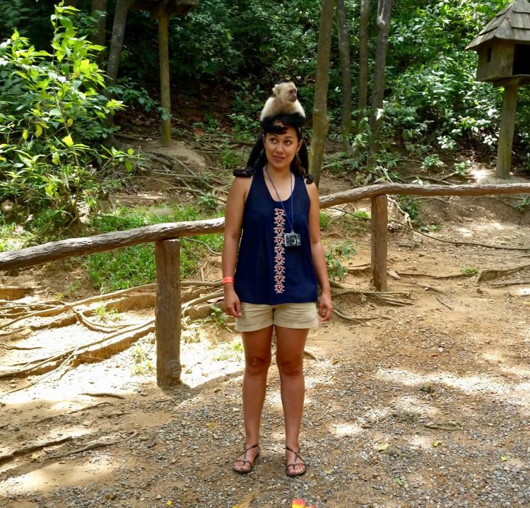 Gumbalimba Park in Roatan Honduras - The tour will let you get up close to monkeys and take pictures with them. See more things to do in Roatan on the blog!