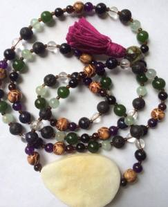 Full Mala with Druzy and Wood beads