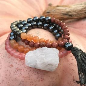agate wrapped mala