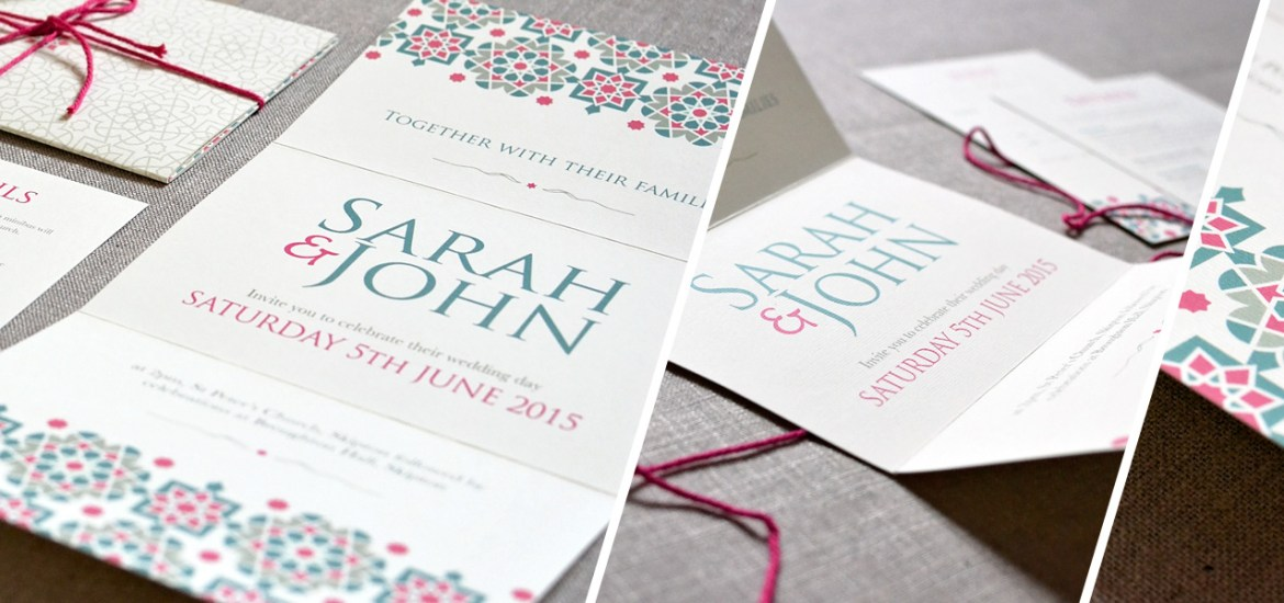 Moroccan patterns wedding invitation