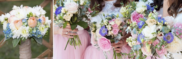 pastel wedding colour floral bouquets