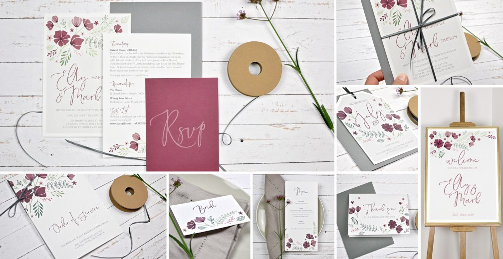 marsala wedding invitation and stationery