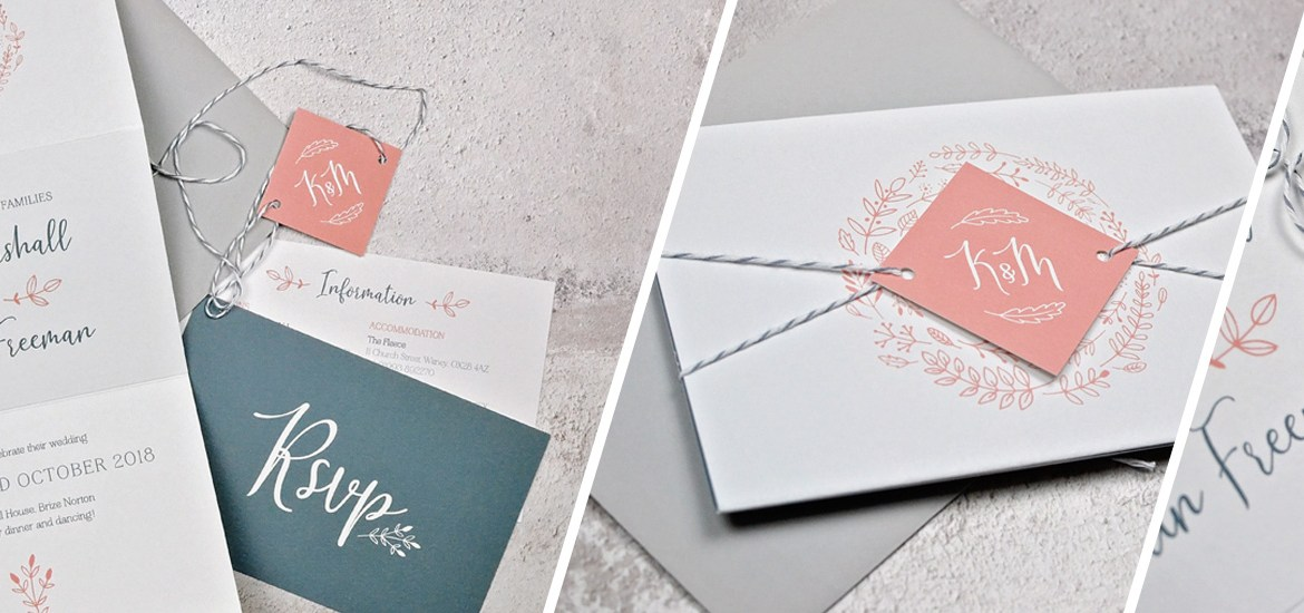 Folded wedding invitation and stationery