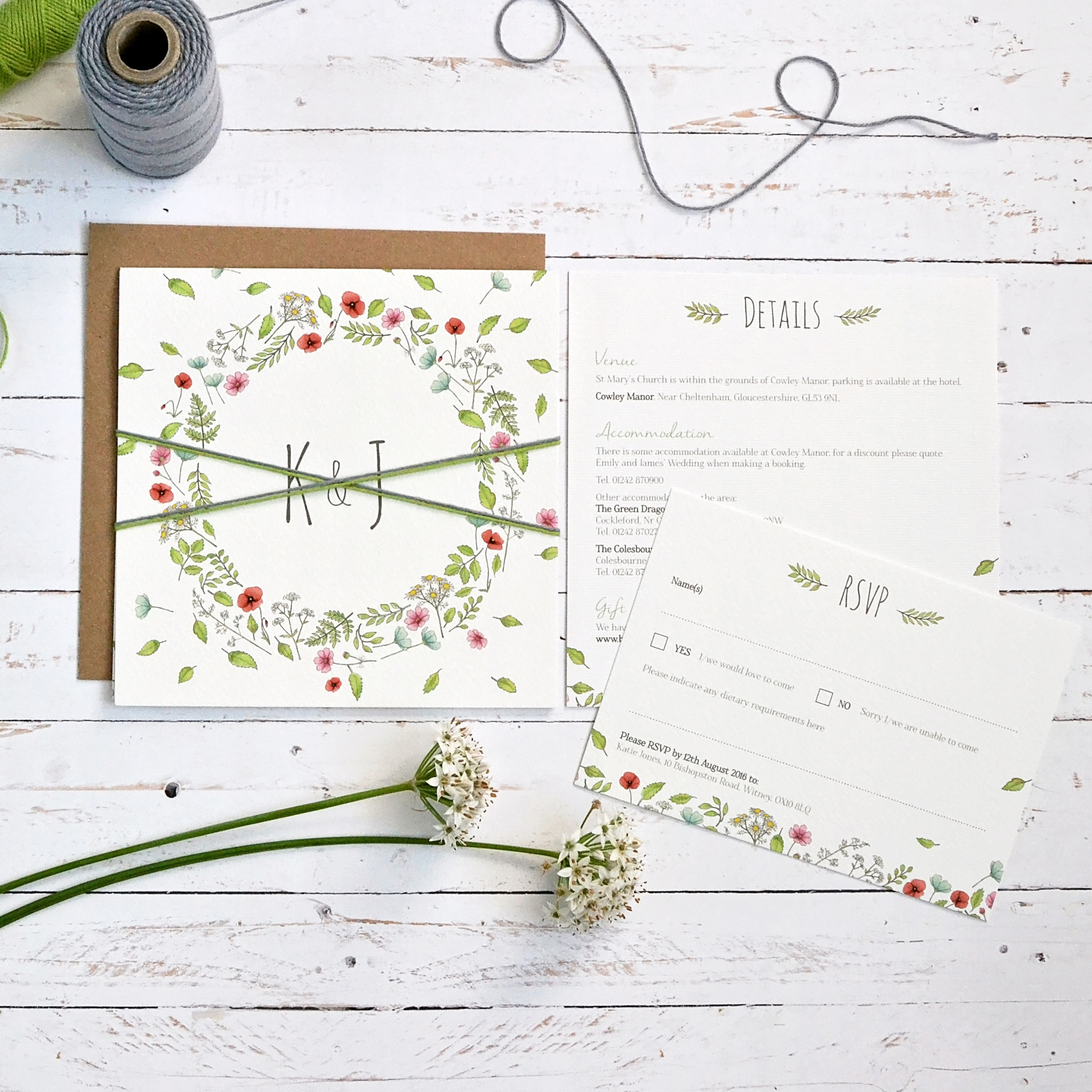 floral folded spring wedding invitation
