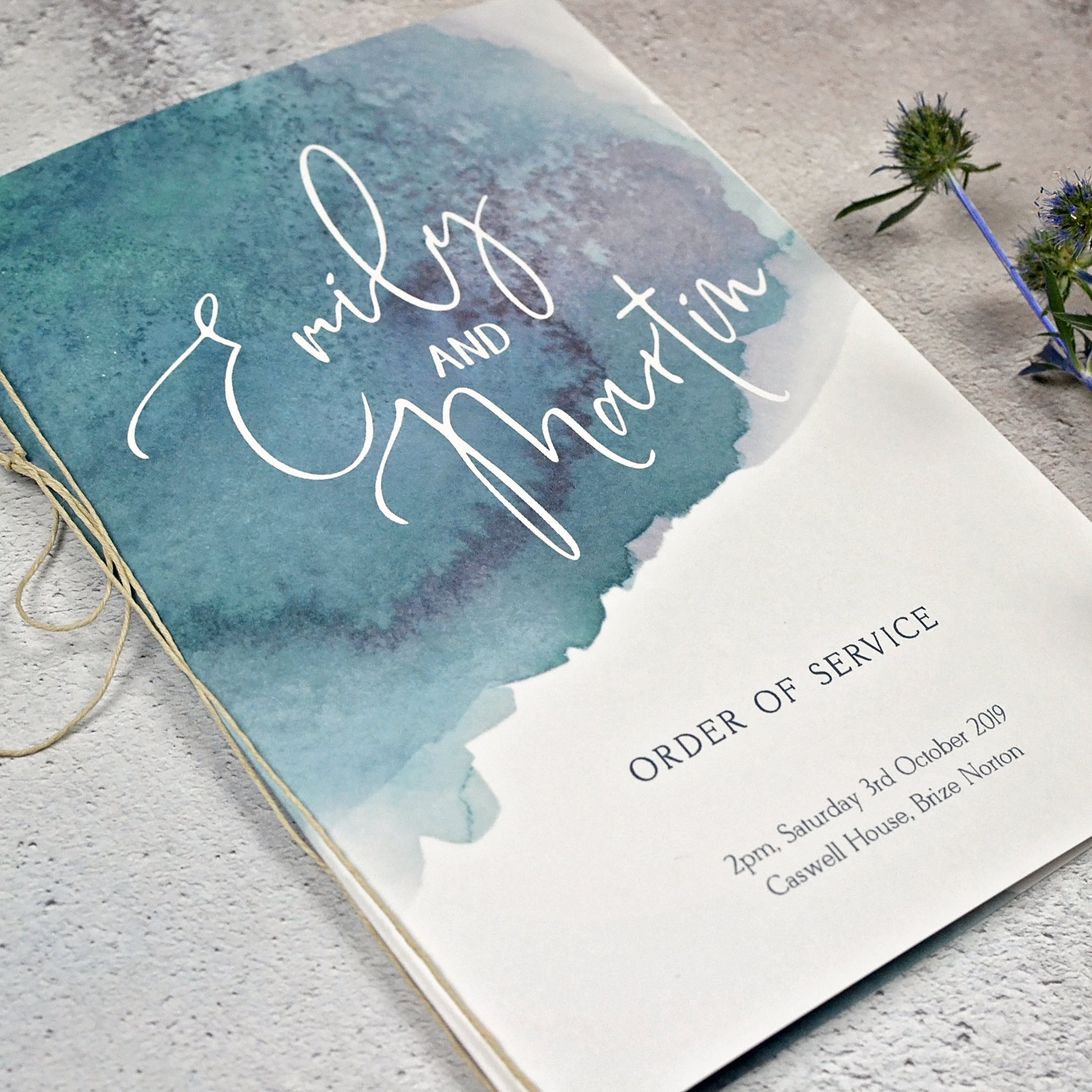 watercolour wedding order of service