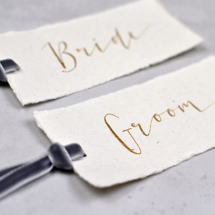 calligraphy wedding place settings