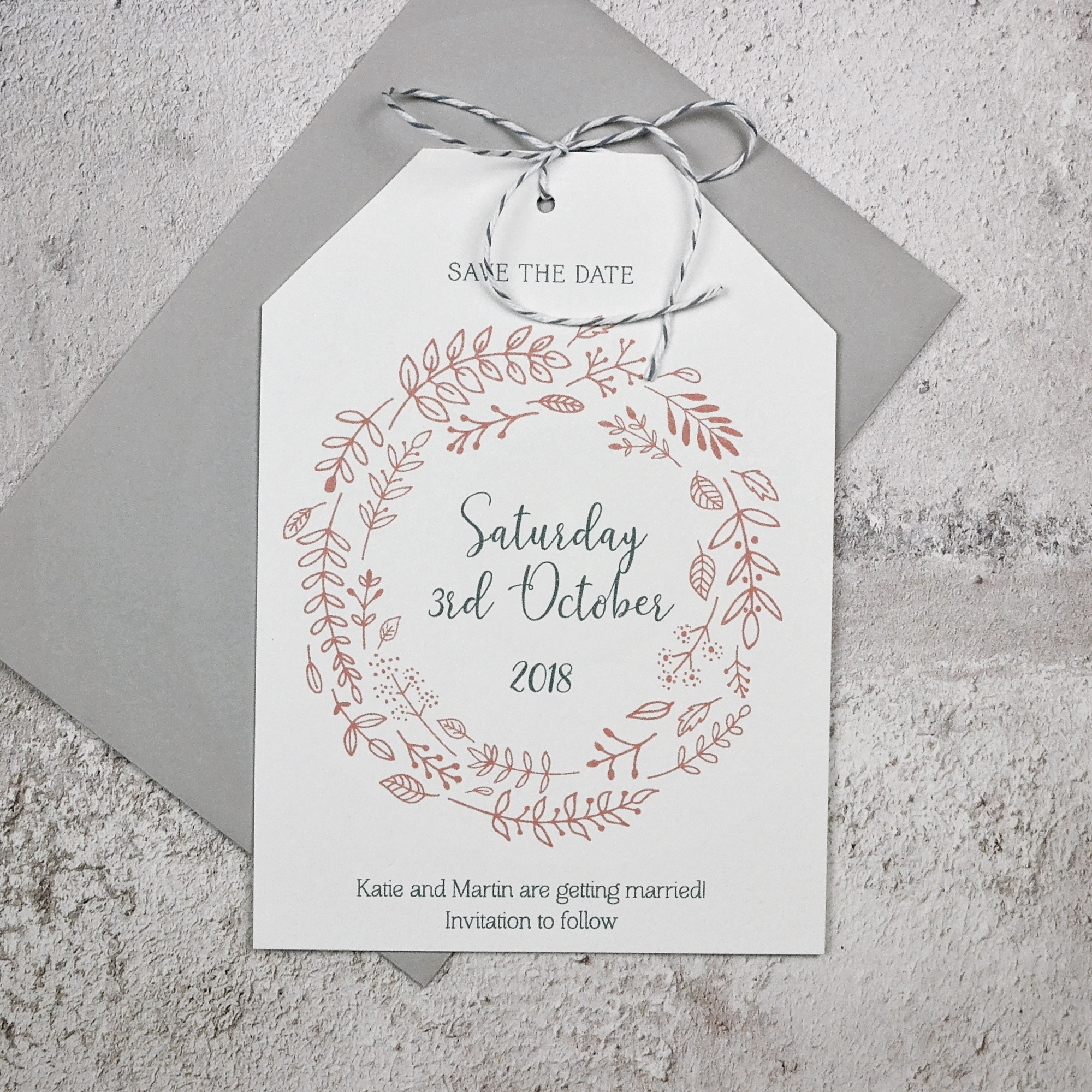 Foliage Wedding Save the Date Tag