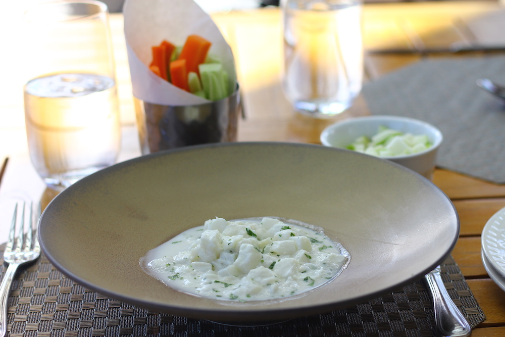 White shrimp ceviche with pears, coconut milk, and lemongrass.