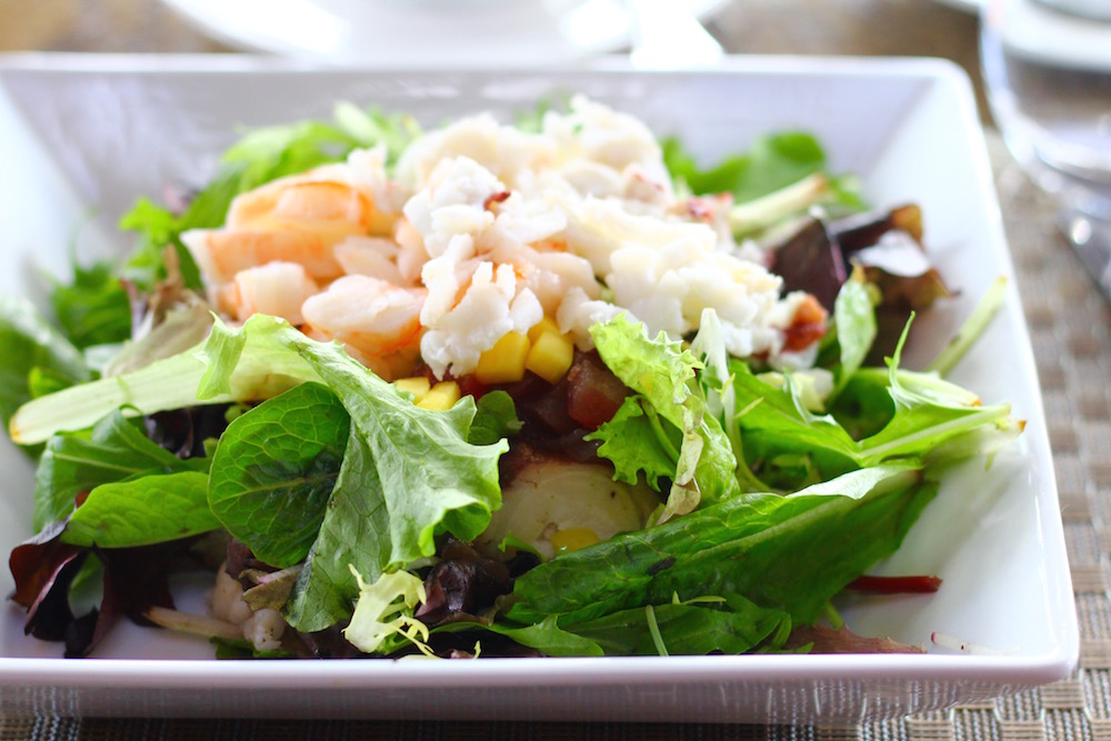 Seafood Salad with octopus, shrimp, scallop, lobster.