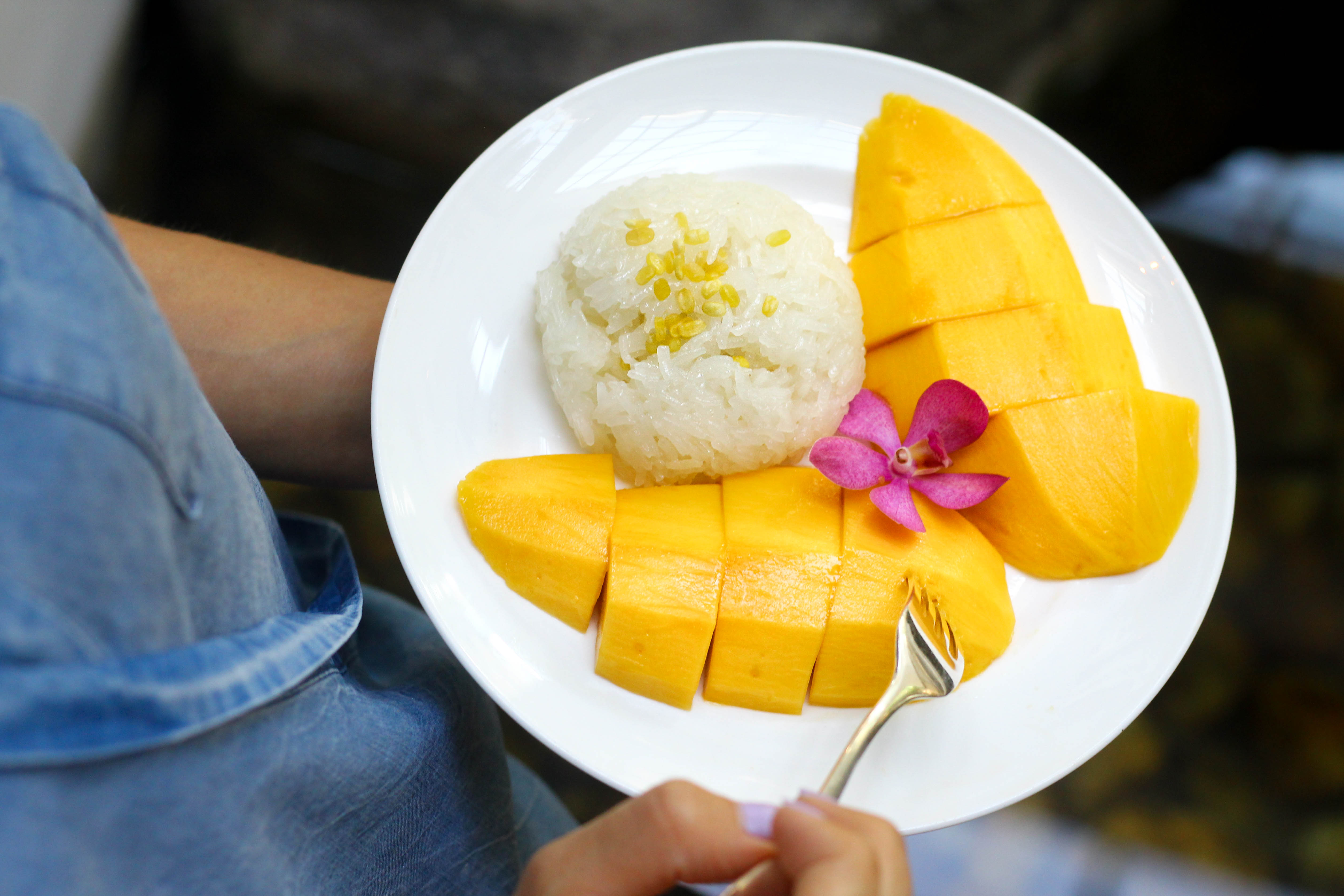 Delicious Mango Sticky Rice at Grand Hyatt Erawan. A Gluten Free Luxury Hotel in Bangkok copy