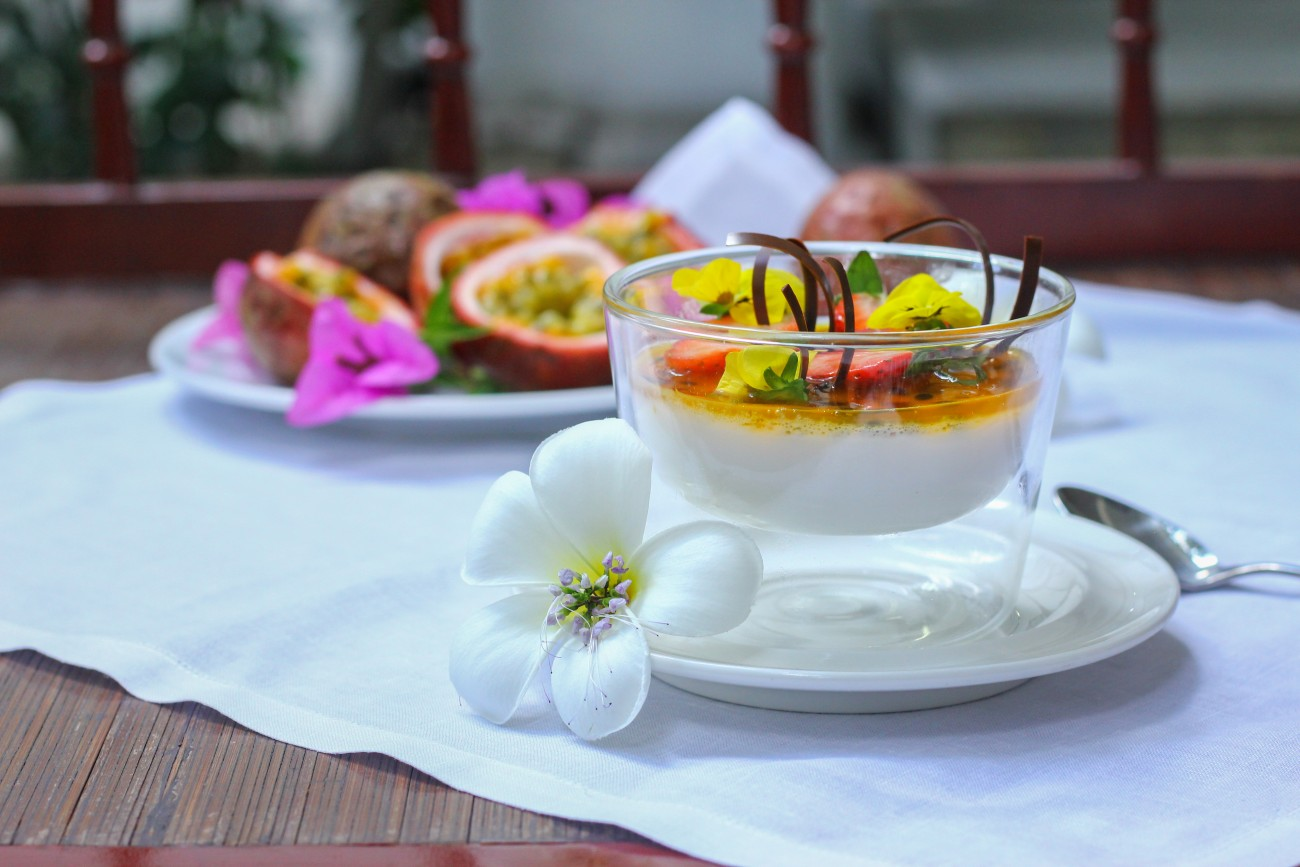 Passion Fruit Panna Cotta on the table