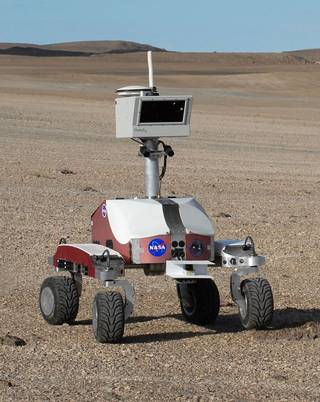 K10 is a robot that has scouted craters, lava flows and deserts to help human explorers. Credits: NASA