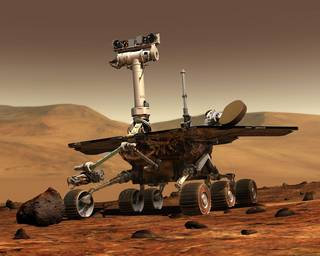 Spirit is one of a group of robots that have explored Mars from the surface or from orbit. Credits: NASA