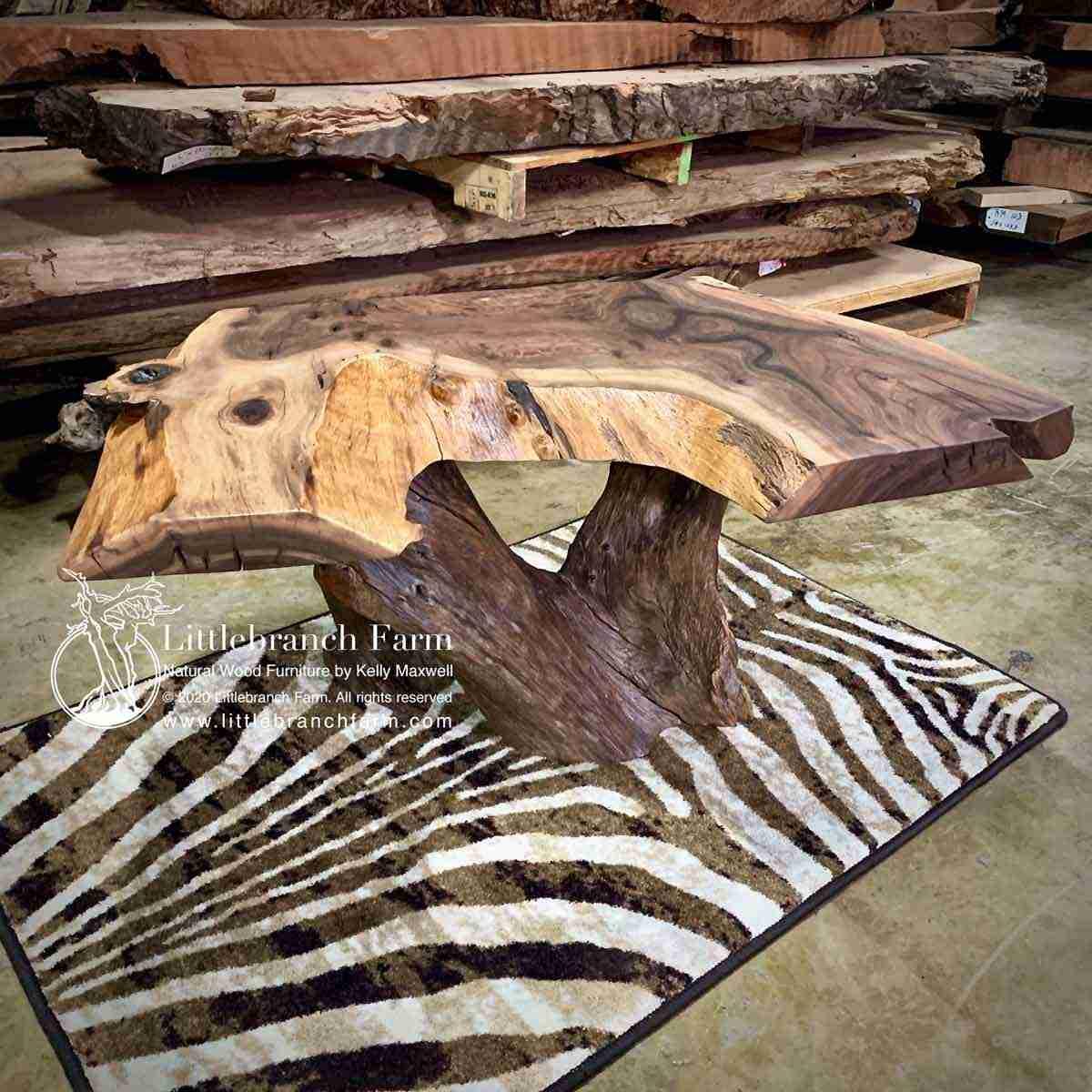 rustic wood slab coffee table