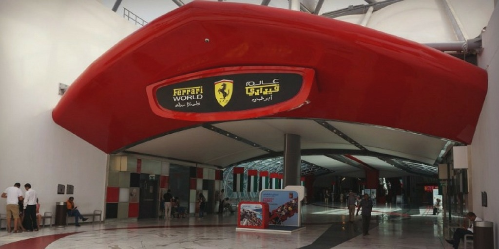 Entrance to Ferrari World Yas Island Abu Dhabi | Things to do with kids in Abu Dhabi by Little City Trips