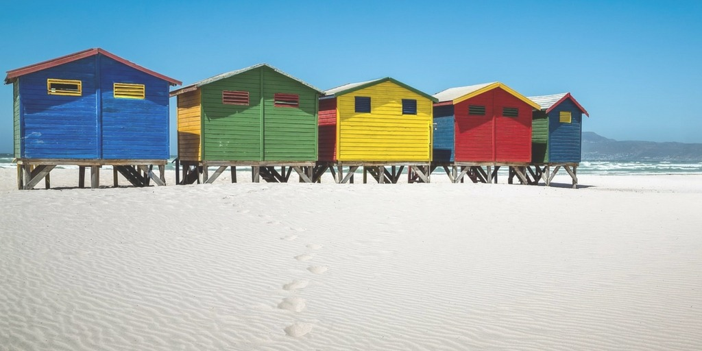 Muizenberg Beach in Cape Town colourful beach huts | Things to do in Cape Town with Kids | Little City Trips - City Travel Experts