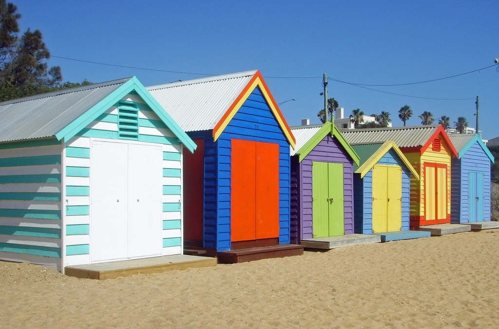 Colourful beach huts on Brighton Beach Melbourne | things to do with kids in Melbourne | Little City Trips - City Travel Experts