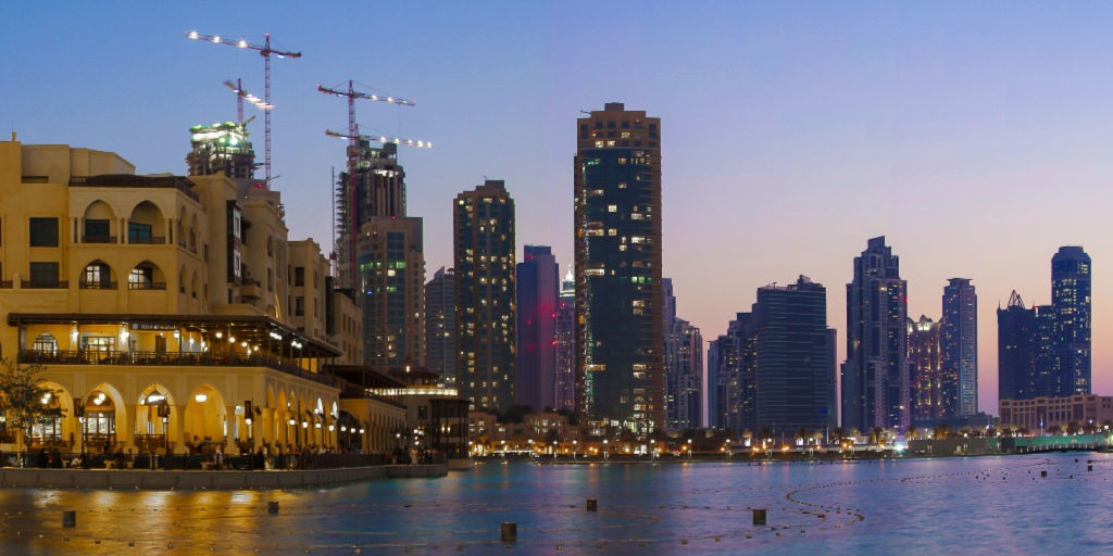 Downtown Dubai lit up at night ready for water show