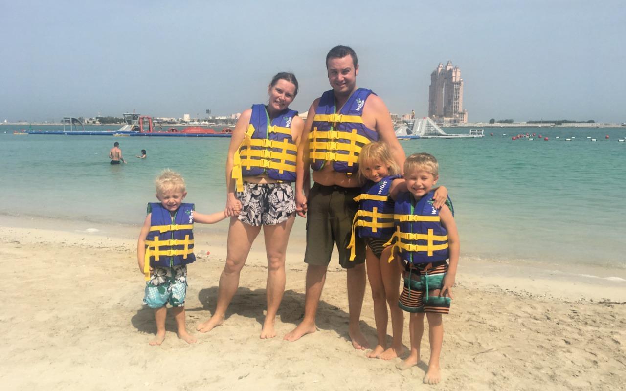 Family at Aquafun on Abu Dhabi Corniiche