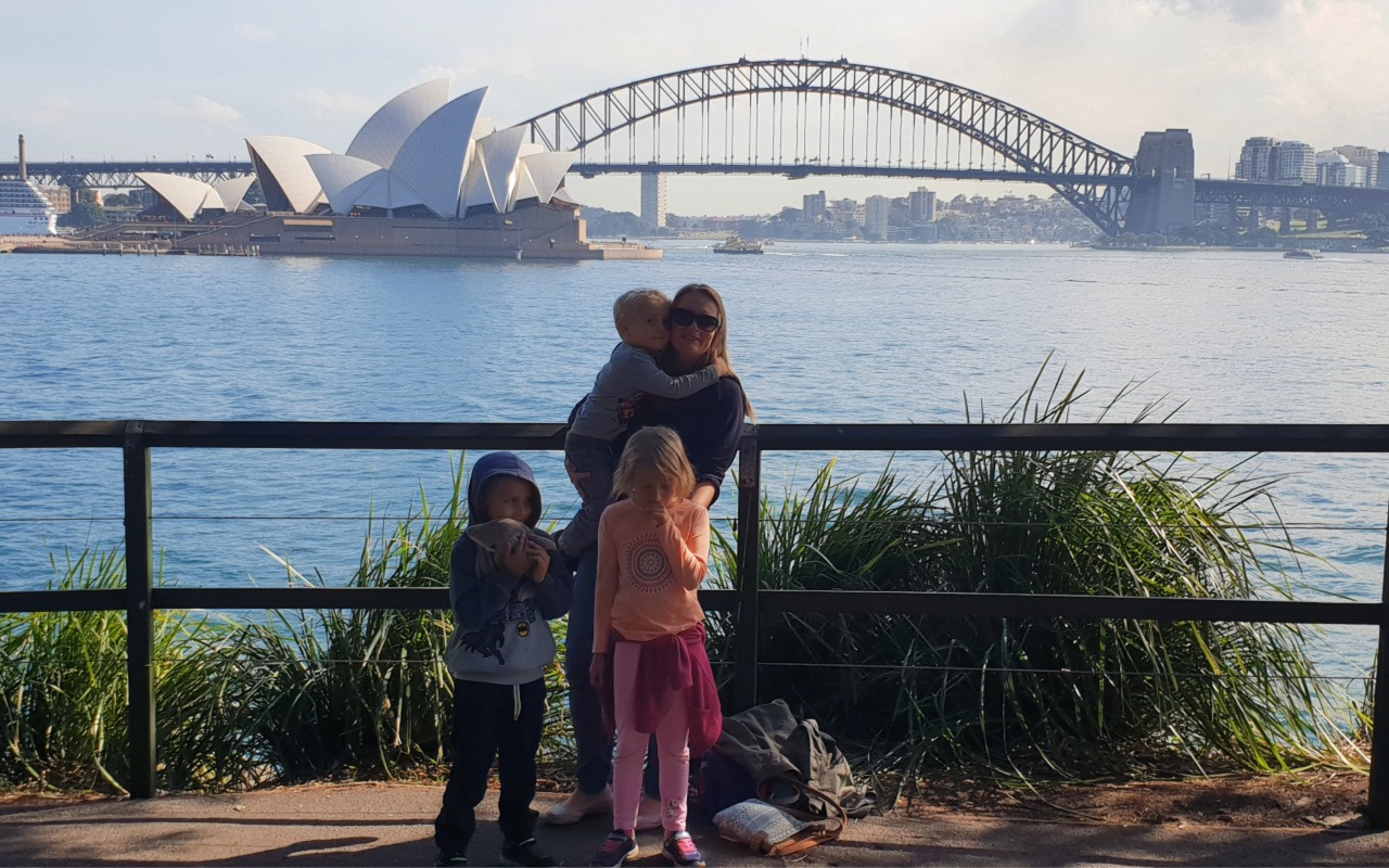 family at Mrs Macquaries Chair in Sydney, Australia - a family guide to Sydney