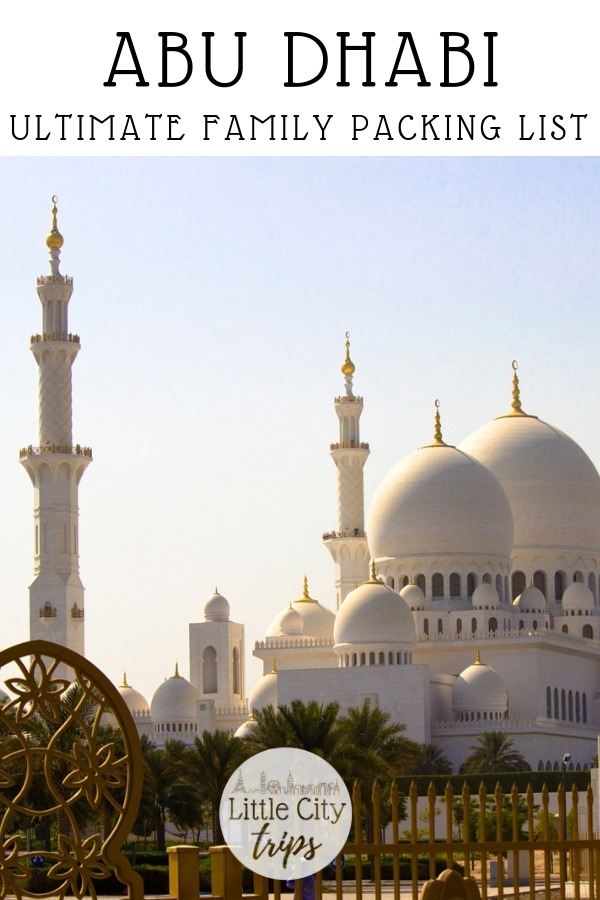 Travelling to Abu Dhabi? City travel experts Little City Trips talk you through all the most important items you need to pack for Abu Dhabi. Print off our Abu Dhabi packing list for your next city trip.