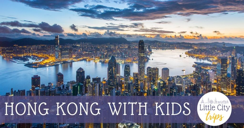Hong Kong with Kids over city Skyline view