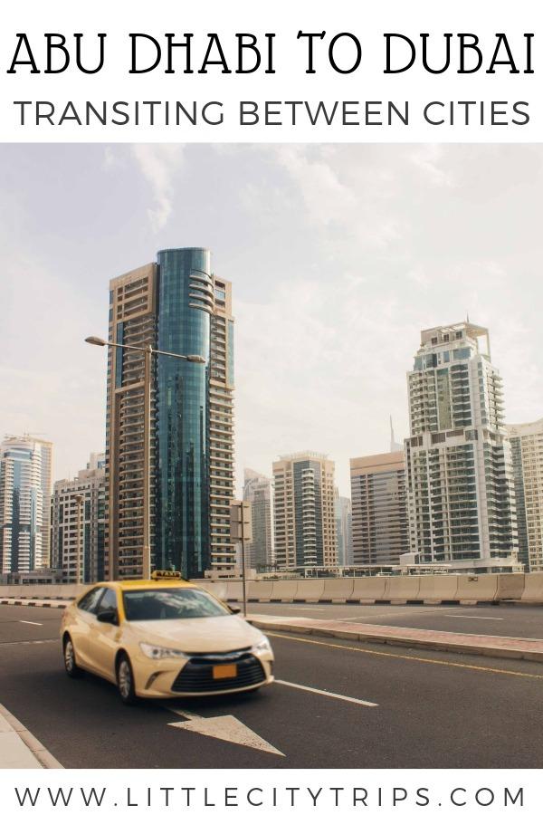 A taxi on the freeway in Dubai