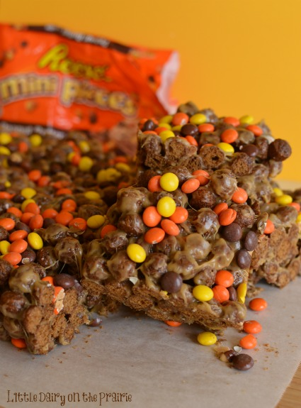 Peanut Butter Cocoa Puff Krispy Treats made with Reese's Mini Pieces Little Dairy on the Prairie