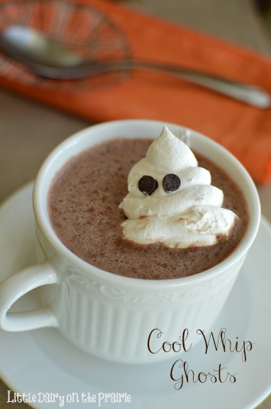 Kids go crazy over these Cool Whip Ghosts! Make them ahead an enjoy them all Halloween long! Little Dairy on the Prairie