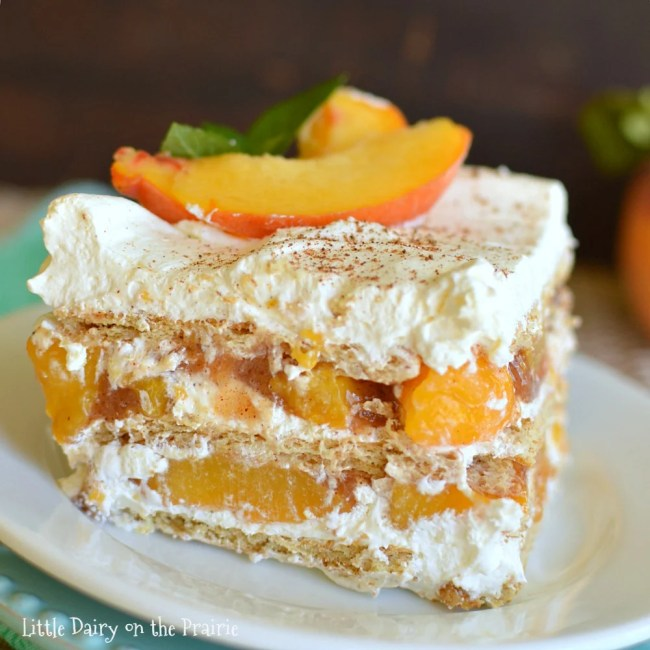 Need a super quick and easy summerfall dessert Try my scrumptious No Bake Peach Icebox Cake!