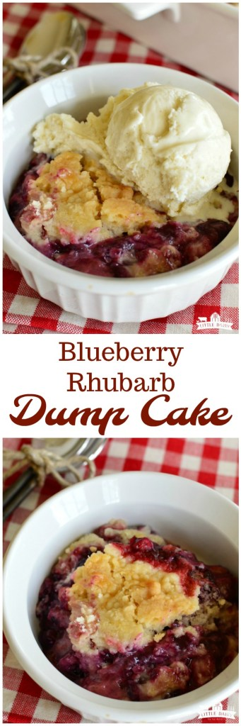 Blueberry Rhubarb Dump Cake is a quick and easy summer dessert! It only takes a few ingredients. Make sure to top it with vanilla ice cream or whipped cream! #rhubarb www.littledairyontheprairie.com