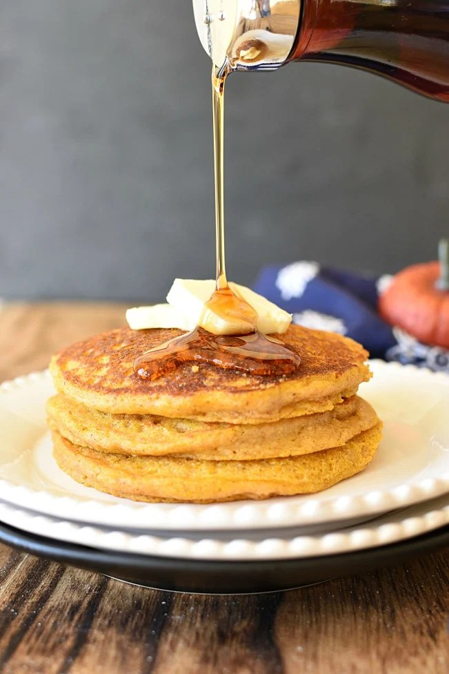 Whole Wheat Pumpkin pancakes with butter and syrup