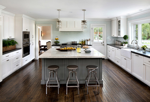 White Kitchen Cabinets Black Countertops Brick Backsplash