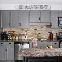 Painted Gray Kitchen Cabinets Home Depot Canada Faucets Our Cabinet Makeover