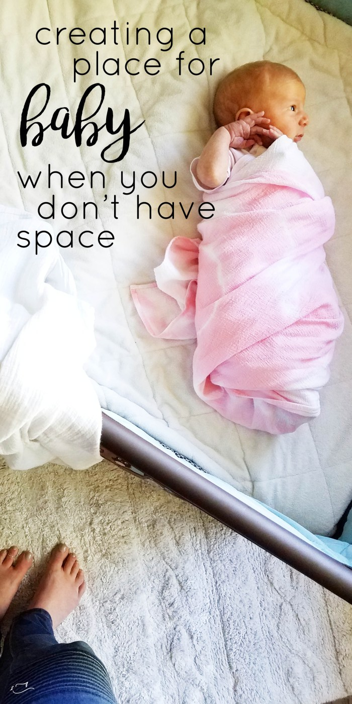 Justine Young mom blogger writes a blog post about how to create a place for your baby when you don't have a lot of space. Sponsored by Lorena Canals rugs.