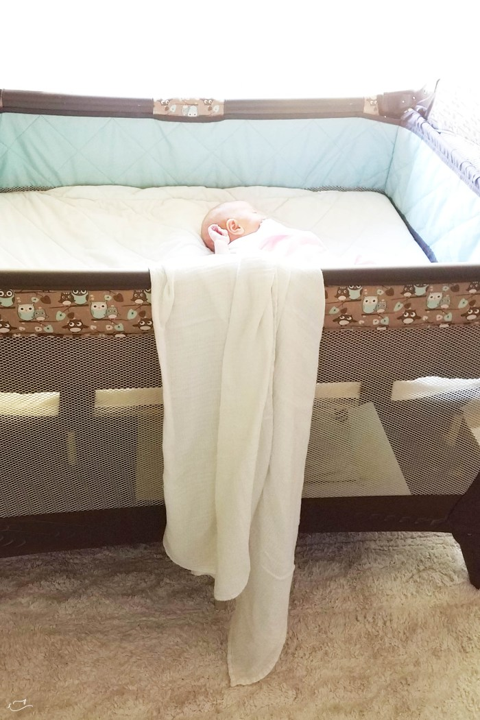 Justine Young mom blogger shares a blog post about how to create a place for baby when you don't have a lot of space. With Lorena Canals Rugs.